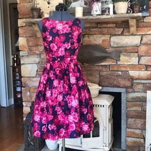 New vintage inspired pink & navy floral dress sz 4